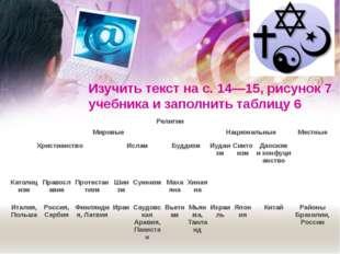 Изучить текст на с.14—15, рисунок7 учебника и заполнить таблицу6 Религии М