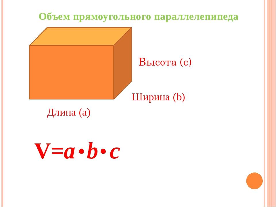 Длина (а) Ширина (b) Высота (c) V=a b с Объем прямоугольного параллелепипеда