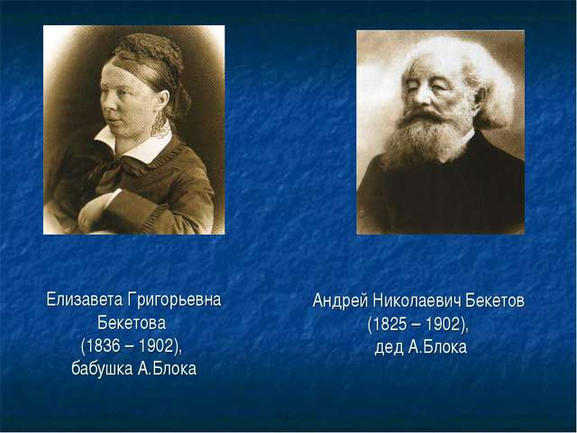 Елизавета Григорьевна Бекетова (1836 – 1902), бабушка А.Блока Андрей Николаев...