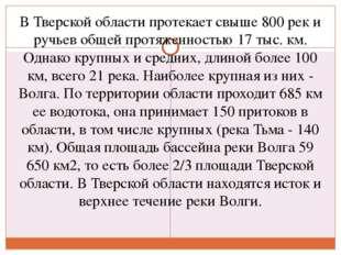 В Тверской области протекает свыше 800 рек и ручьев общей протяженностью 17 т