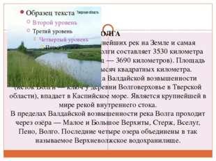 ВОЛГА Река Волга - одна из крупнейших рек на Земле и самая большая в Европе.