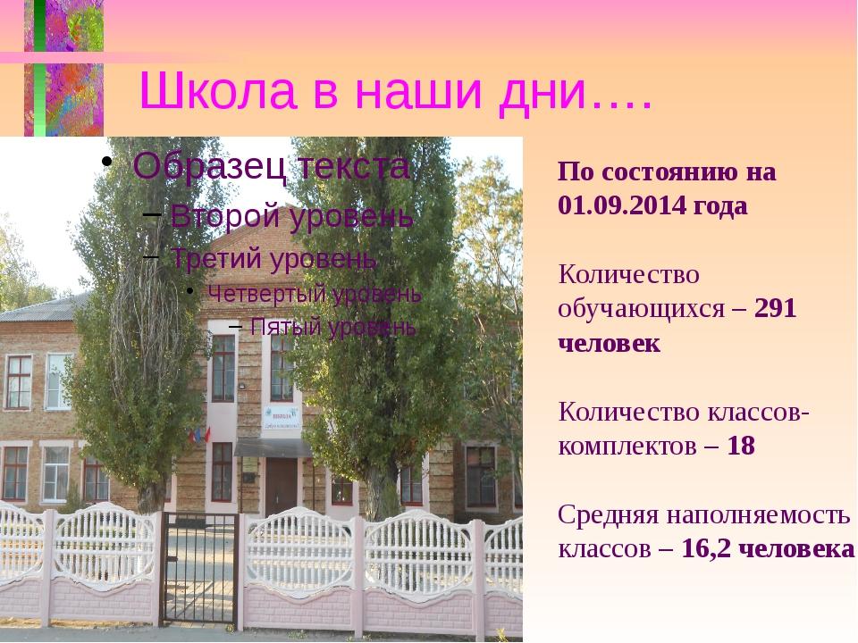 Школа в наши дни…. По состоянию на 01.09.2014 года Количество обучающихся – 2...