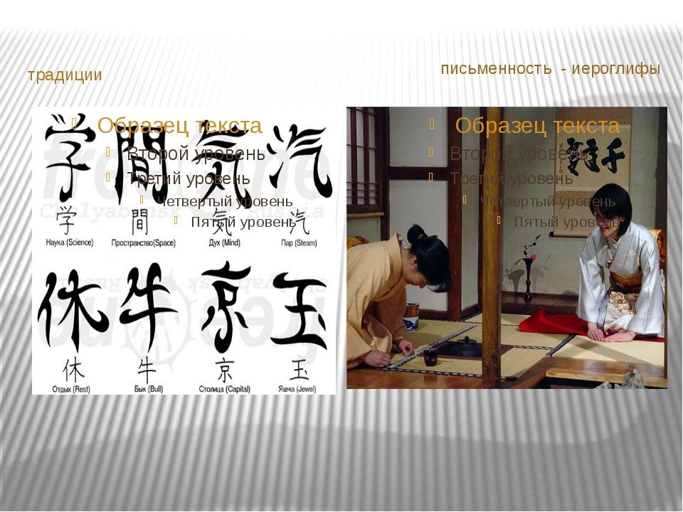 традиции письменность - иероглифы