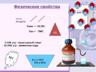Ц Физические свойства Ткип = -33,50С Тпл = -780С 3-10% р-р - нашатырный спирт