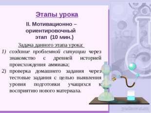 Этапы урока II. Мотивационно – ориентировочный этап (10 мин.) Задача данного