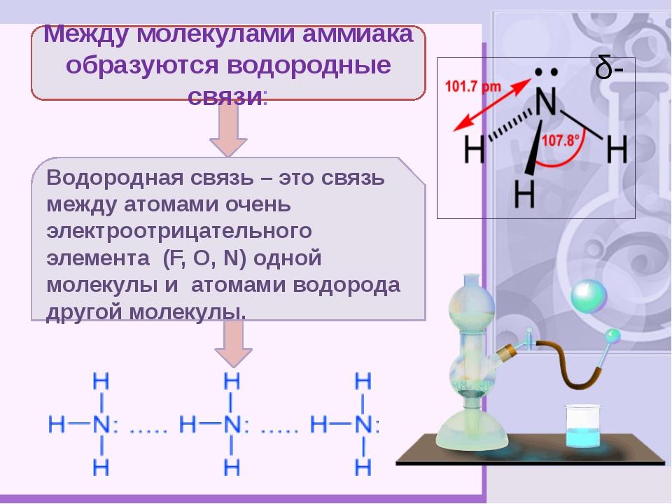 Между молекулами аммиака образуются водородные связи: Водородная связь – это...