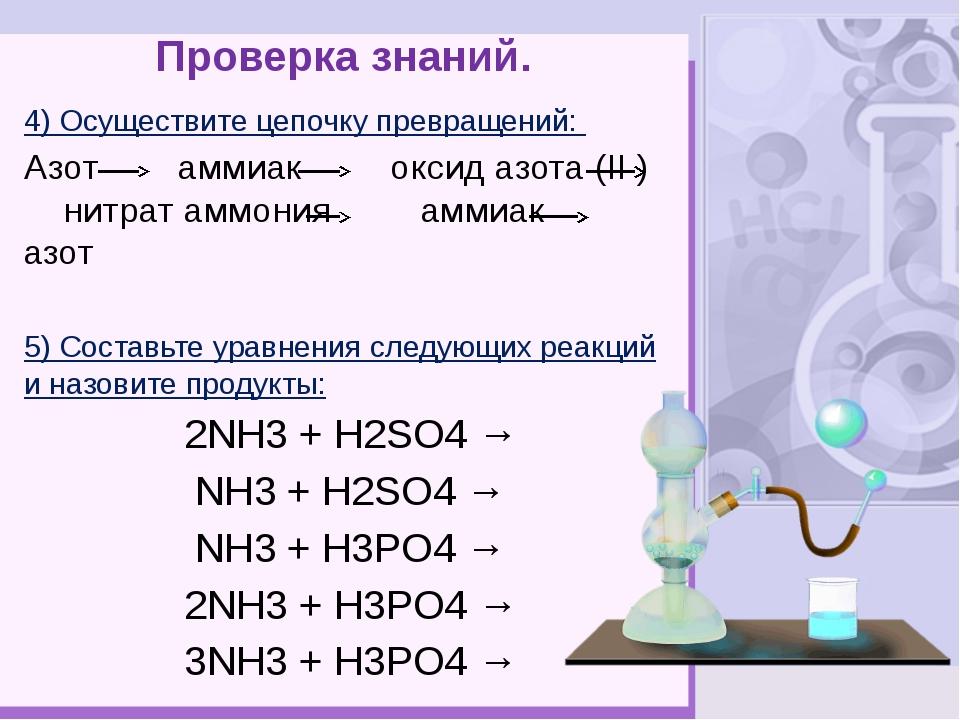 Проверка знаний. 4) Осуществите цепочку превращений: Азот аммиак оксид азота...