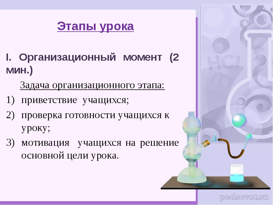 Этапы урока I. Организационный момент (2 мин.) Задача организационного этапа:...