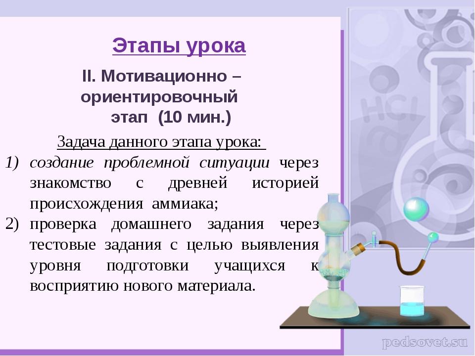 Этапы урока II. Мотивационно – ориентировочный этап (10 мин.) Задача данного...