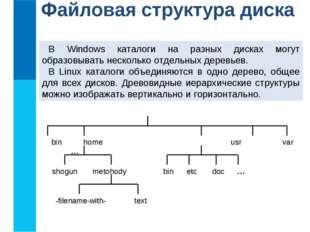Файловая структура диска В Windows каталоги на разных дисках могут образовыва