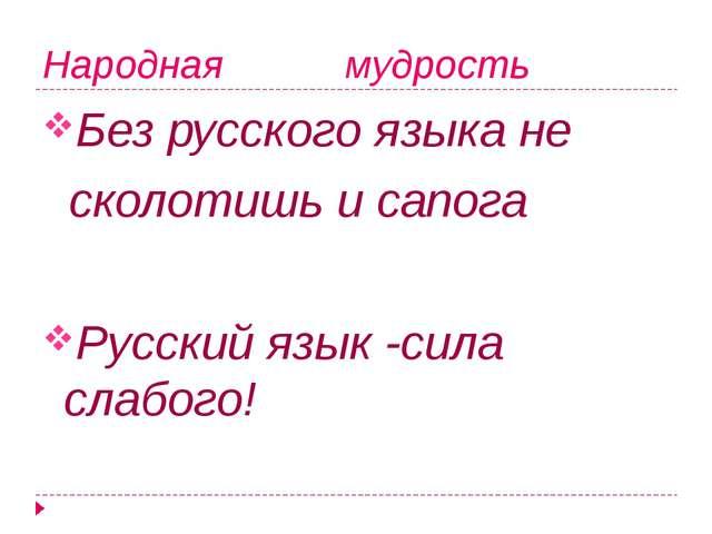 Народная мудрость Без русского языка не сколотишь и сапога Русский язык -сила...