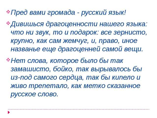 Пред вами громада - русский язык! Дивишься драгоценности нашего языка: что ни...