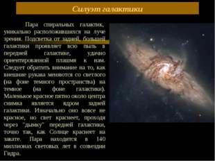 Силуэт галактики Пара спиральных галактик, уникально расположившихся на л