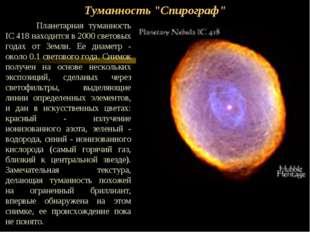 """Туманность """"Спирограф"""" Планетарная туманность IC 418 находится в 2000 светов"""