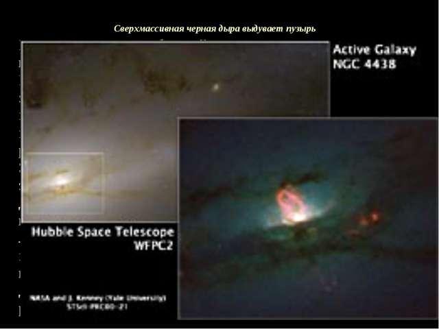 Cверхмассивная черная дыра выдувает пузырь На снимке центр близкой галактики...