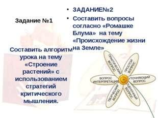 Задание №1 ЗАДАНИЕ№2 Составить вопросы согласно «Ромашке Блума» на тему «Прои