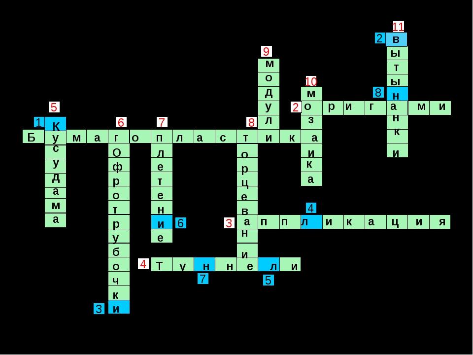 8 3 9 2 11 6 4 10 5 7 7 4 1 5 6 2 8 3 Б у м а г о п л а с т и к а Т у н н е л...