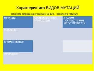 Характеристика ВИДОВ МУТАЦИЙ Откройте тетради на странице 119-120 . Заполните
