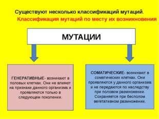 Существуют несколько классификаций мутаций. Классификация мутаций по мест