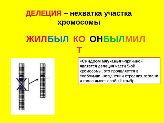 ДЕЛЕЦИЯ – нехватка участка хромосомы «Синдром мяуканья»-причиной является дел...