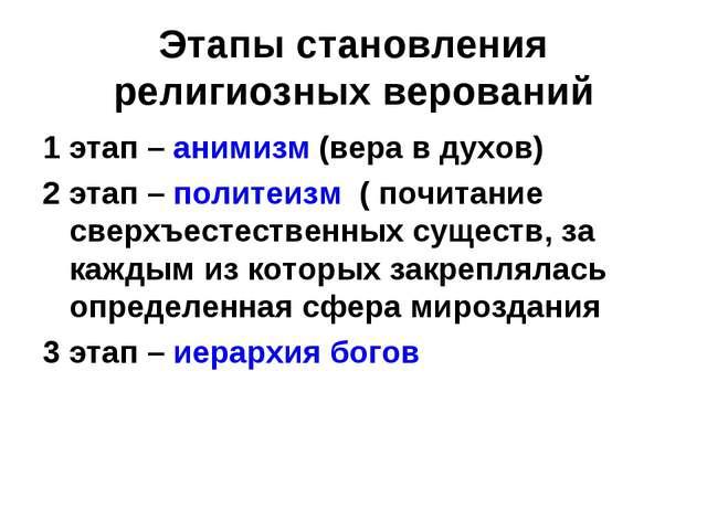 Этапы становления религиозных верований 1 этап – анимизм (вера в духов) 2 эта...