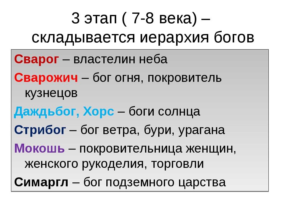 3 этап ( 7-8 века) – складывается иерархия богов Сварог – властелин неба Свар...