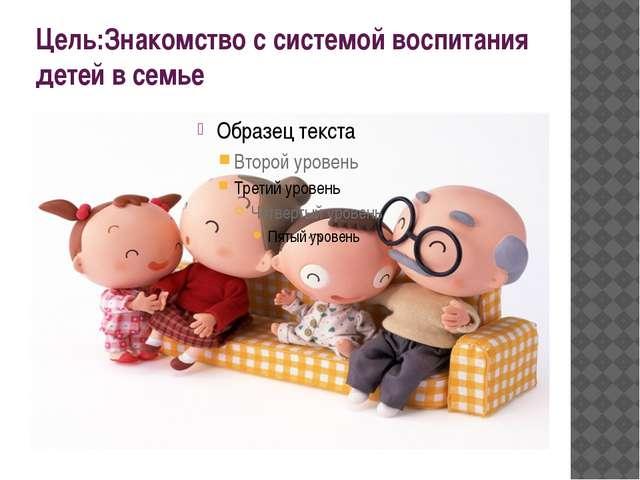 Цель:Знакомство с системой воспитания детей в семье