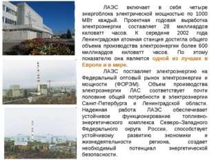 ЛАЭС включает в себя четыре энергоблока электрической мощностью по 1000 МВт