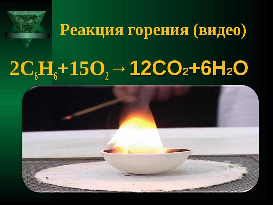 Реакция горения (видео) 2C6H6+15O2→12CO2+6H2O коптящим пламенем