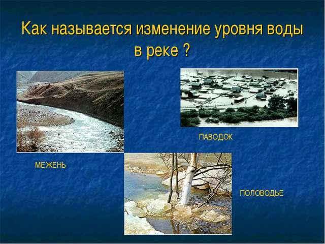 Как называется изменение уровня воды в реке ? МЕЖЕНЬ ПАВОДОК ПОЛОВОДЬЕ