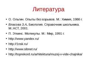 Литература О. Ольгин. Опыты без взрывов. М.: Химия, 1986 г. Власова З.А. Биол