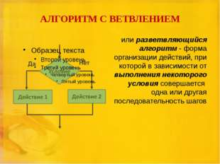 АЛГОРИТМ С ВЕТВЛЕНИЕМ или разветвляющийся алгоритм - форма организации действ