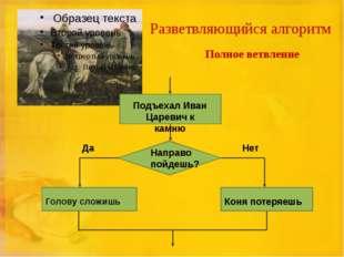 Разветвляющийся алгоритм Полное ветвление Подъехал Иван Царевич к камню Напра