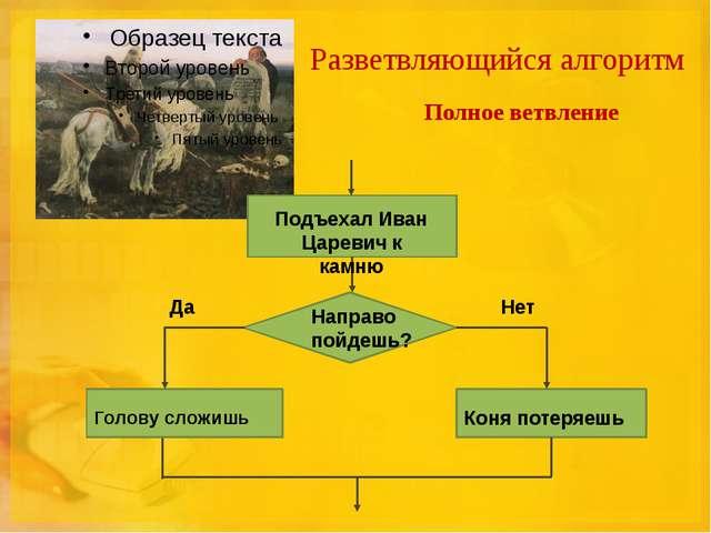 Разветвляющийся алгоритм Полное ветвление Подъехал Иван Царевич к камню Напра...