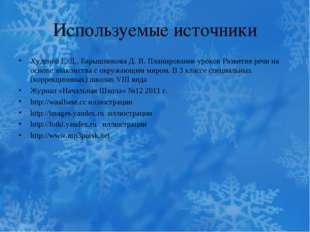 Используемые источники Худенко Е. Д., Барышникова Д. И. Планирование уроков Р