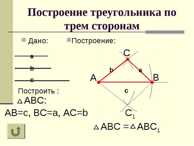 Построение треугольника по трем сторонам Дано: Построение: Построить : a c C...