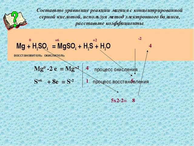 Составьте уравнение реакции магния с концентрированной серной кислотой, испол...