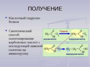 ПОЛУЧЕНИЕ Кислотный гидролиз белков Синтетический способ: галогенирование кар