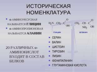 ИСТОРИЧЕСКАЯ НОМЕНКЛАТУРА α-АМИНОУКСУСНАЯ НАЗЫВАЕТСЯ ГЛИЦИН α-АМИНОПРОПИОНОВА