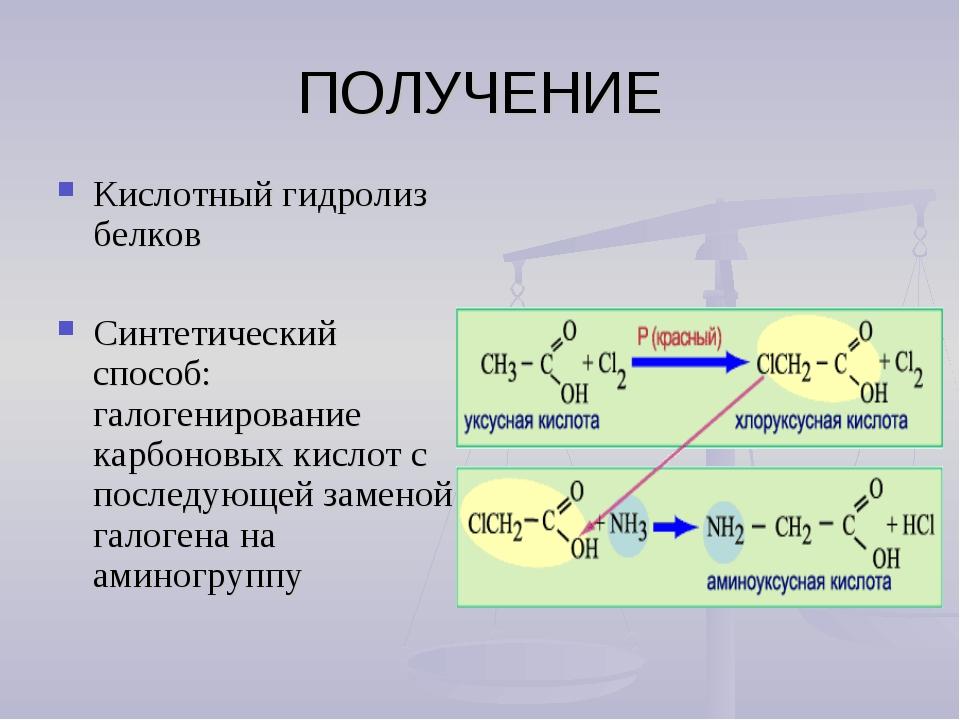 ПОЛУЧЕНИЕ Кислотный гидролиз белков Синтетический способ: галогенирование кар...