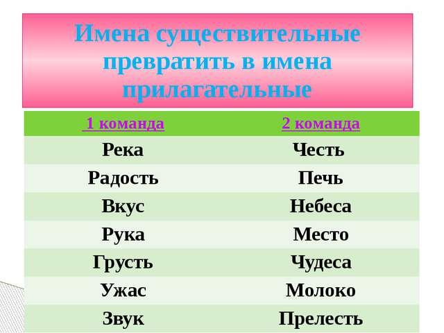 Имена существительные превратить в имена прилагательные 1 команда 2 команда Р...