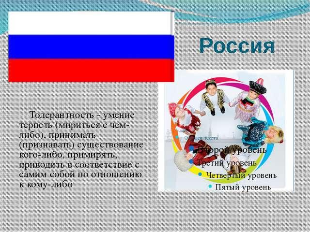Россия Толерантность - умение терпеть (мириться с чем-либо), принимать (призн...