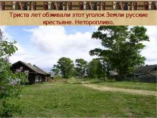 Триста лет обживали этот уголок Земли русские крестьяне. Неторопливо,