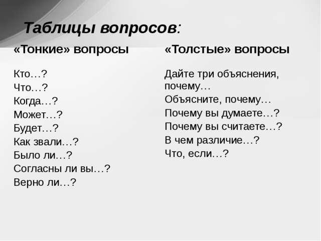 Таблицы вопросов: «Тонкие» вопросы «Толстые» вопросы Кто…? Что…? Когда…? Мож...
