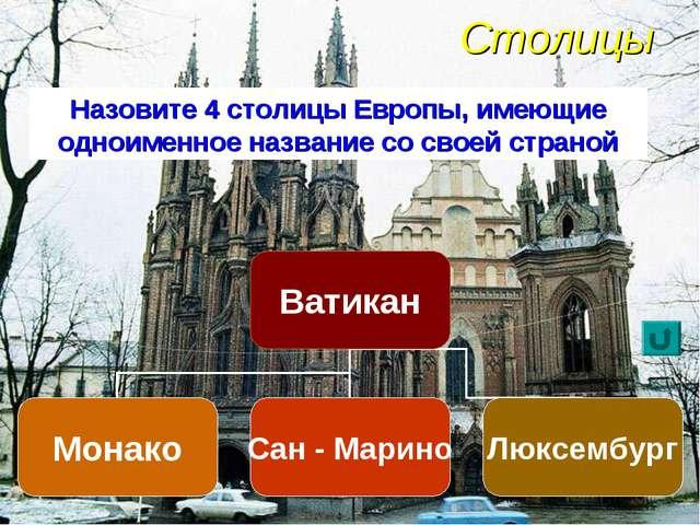 Столицы Назовите 4 столицы Европы, имеющие одноименное название со своей стр...