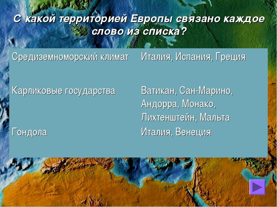 С какой территорией Европы связано каждое слово из списка?