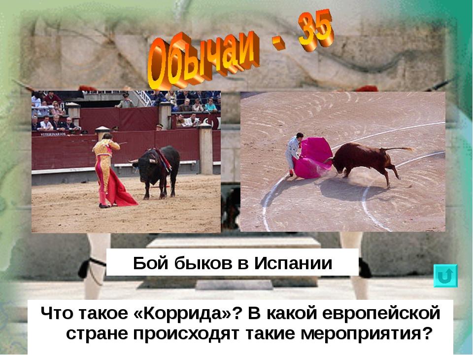 Что такое «Коррида»? В какой европейской стране происходят такие мероприятия?...