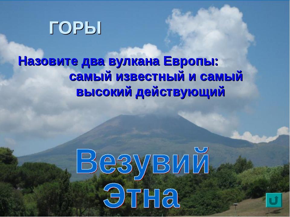 ГОРЫ Назовите два вулкана Европы: самый известный и самый высокий действующий