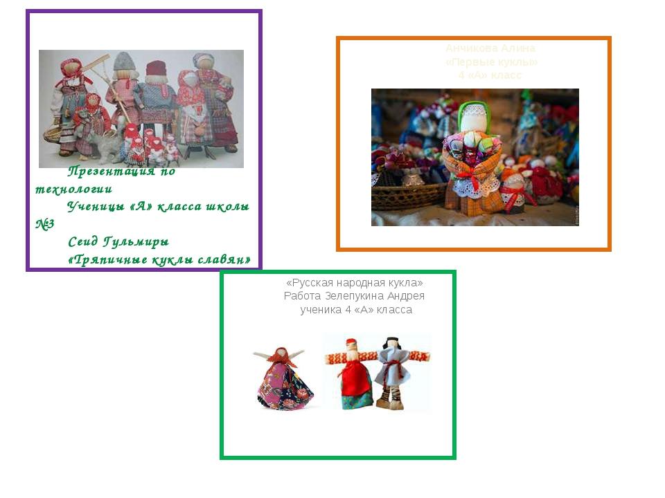 Презентация по технологии Ученицы «А» класса школы №3 Сеид Гульмиры «Тряпичн...
