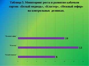 Таблица 5. Мониторинг роста и развития кабачков сортов: «Белый медведь», «Кла